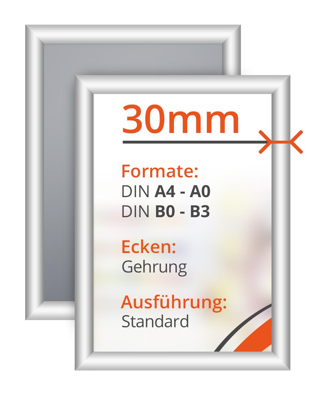 alu klapprahmen 30mm auf gehrung aluminium aspos display gmbh co kg. Black Bedroom Furniture Sets. Home Design Ideas